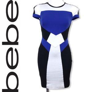 ❤️ BEBE Color Block Jersey Bodycon Mini Dress XS